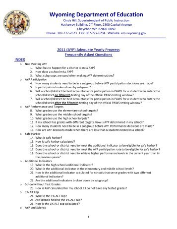 AYP FAQ July 2011 - Wyoming Department of Education