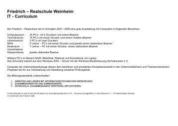 Friedrich – Realschule Weinheim IT - Curriculum - auf der Website ...
