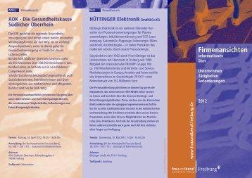 Programm Firmenansichten - Kontaktstelle Frau und Beruf
