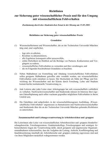 Richtlinien zur Sicherung guter wissenschaftlicher Praxis und für ...