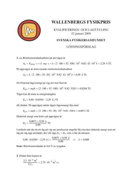 Lösningsförslag - Svenska Fysikersamfundet