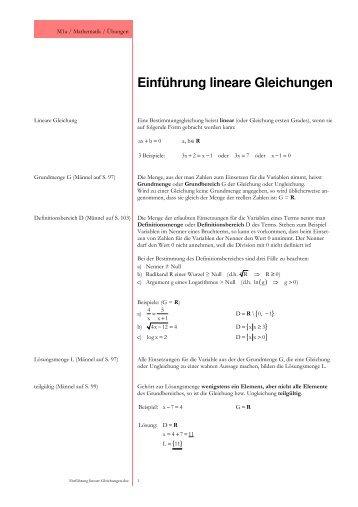 Lineare diophantische Gleichungen Arbeitsmaterial für ... - LSGM