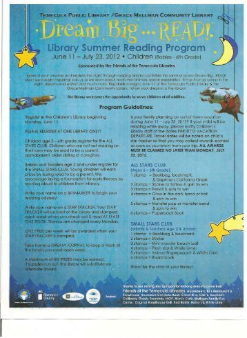 Library Summer Reading Program - Friends of the Temecula Libraries