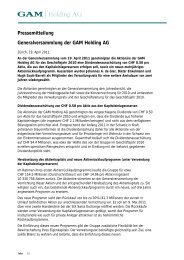 Pressemitteilung Generalversammlung der GAM Holding AG