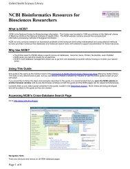 NCBI Bioinformatics Resources for Biosciences Researchers