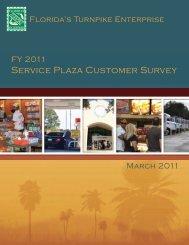 Service Plaza Customer Survey FY 2011 - Florida's Turnpike