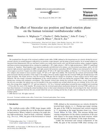 The effect of binocular eye position and head - Johns Hopkins ...
