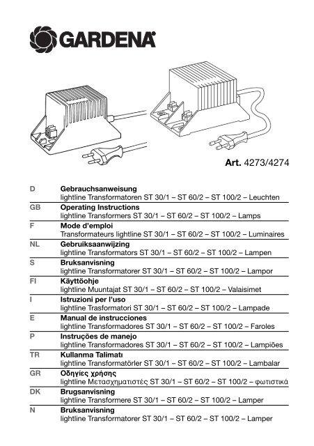 OM, Gardena, lightline Transformatoren ST 30/1 – ST 60/2 – ST 100 ...