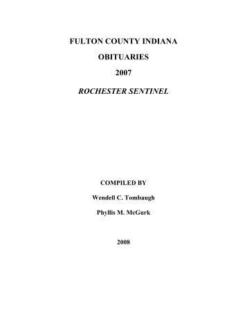 fulton county indiana obituaries 2007 rochester sentinel
