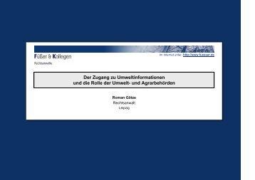 Umweltinformationsgesetz - Der Zugang zu Umweltinformationen und