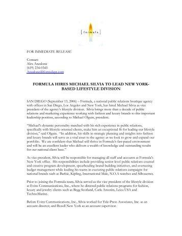 formula hires michael silvia to lead new york- based ... - Formula PR