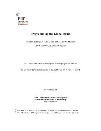 Programming the Global Brain - MIT Center for Collective Intelligence