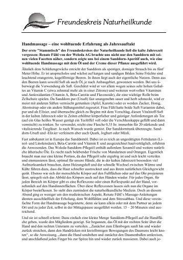 Pressemitteilung Treffen Handmassage - Freundeskreis ...