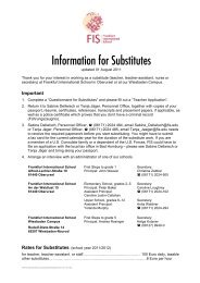 Information for Substitutes - Frankfurt International School
