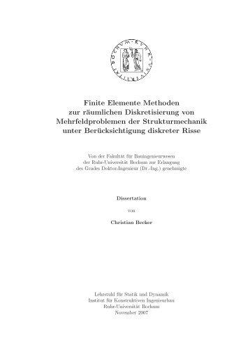 Finite Elemente Methoden zur räumlichen Diskretisierung von ...
