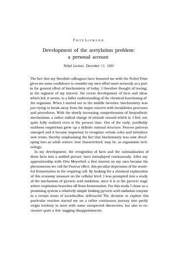 Fritz Lipmann - Nobel Lecture - FLI - Leibniz Institute for Age Research