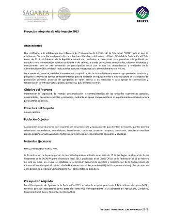 Proyectos Integrales de Alto Impacto 2013 Antecedentes ... - Firco