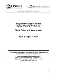 Program Description for the USAID Training Workshop - Fiscal Reform