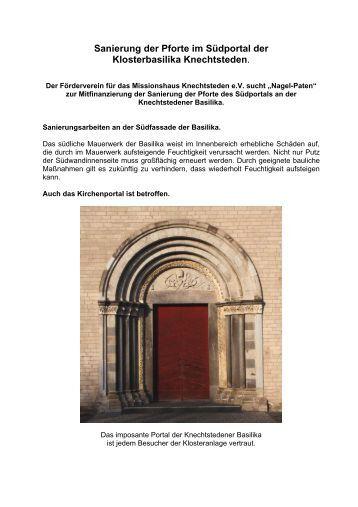 Sanierung der Pforte im Südportal der Klosterbasilika Knechtsteden.