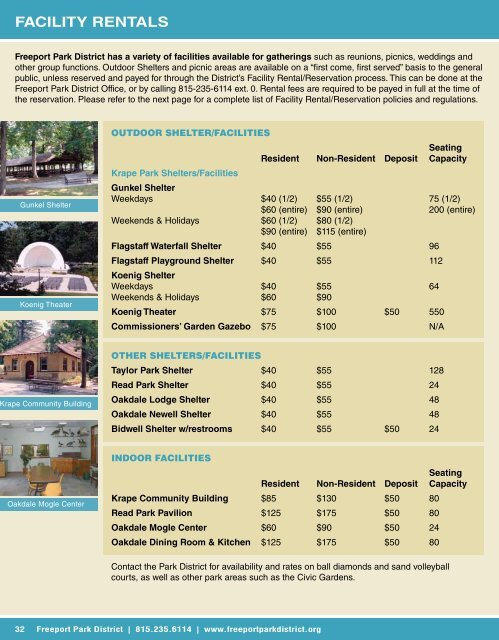 fACILITY REnTALS - Freeport Park District