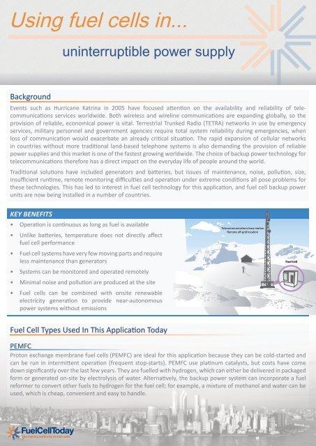 Using Fuel Cells In: Uninterruptible Power Supply - Fuel
