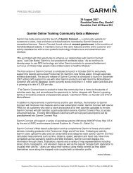 PRESS RELEASE Garmin Online Training Community Gets a ...