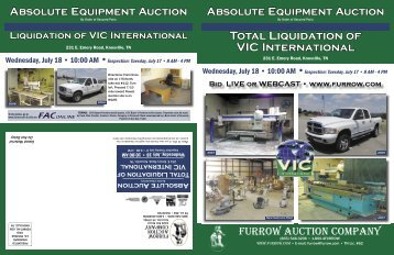 Total Liquidation of VIC International - Furrow Auction Company