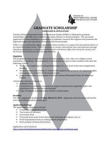 GRADUATE SCHOLARSHIP - Friends of Simon Wiesenthal Center ...