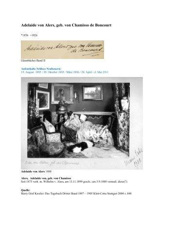 Alers Adelaide von - Gästebücher von Schloss Neubeuern