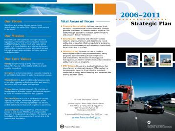 Strategic Plan - Federal Motor Carrier Safety Administration