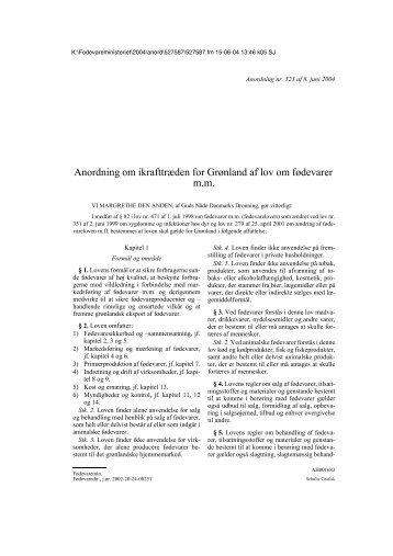 Anordning nr. 523 af 8. juni 2004