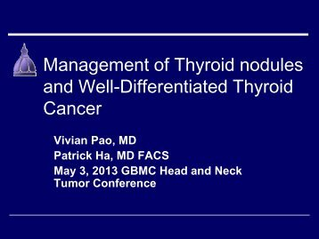 Management of Thyroid nodules and Well-Differentiated Thyroid ...