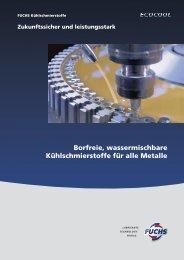 Borfreie, wassermischbare Kühlschmierstoffe für alle Metalle