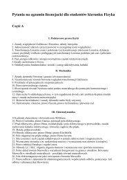 Pytania na egzamin licencjacki dla studentów kierunku Fizyka Część A