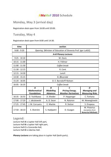 AMaMeF 2010 Schedule Monday, May 3 (arrival day) Tuesday, May ...