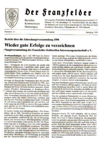 Ausgabe 11 hier herunterladen - Die Franzfelder