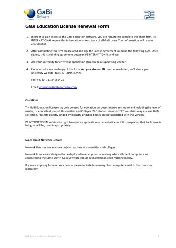 GaBi Education License Renewal Form - GaBi Software