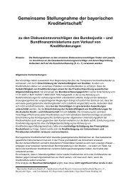 Gemeinsame Stellungnahme der bayerischen Kreditwirtschaft
