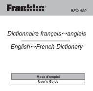 Dictionnaire français↔anglais English↔French Dictionary - Ectaco