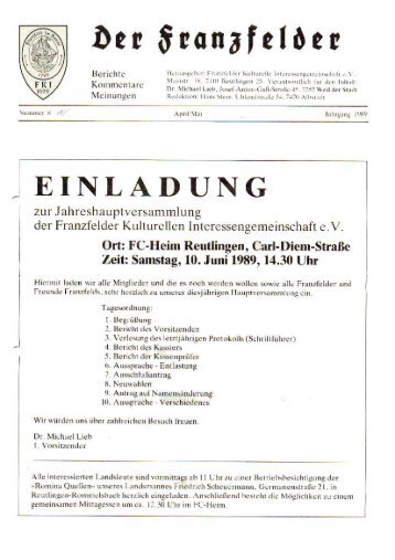 Ausgabe 8 hier herunterladen - Die Franzfelder