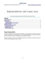 Kódování klíčů Fiat / Alfa / Lancia /  Iveco - Auto diagnostics