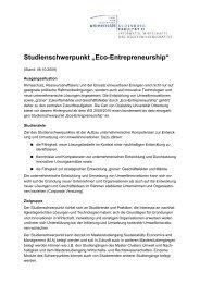 "Studienschwerpunkt ""Eco-Entrepreneurship"" - Fakultät II - Informatik ..."
