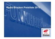 Radio Brocken Preisliste 2013 - Funkhaus Halle