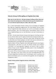 Eröffnungsflug Helvetic Airways - Bern-Belp