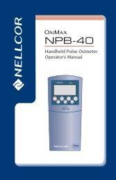 Nellcor NPB-40 Handheld Pulse Oximeter User Manual