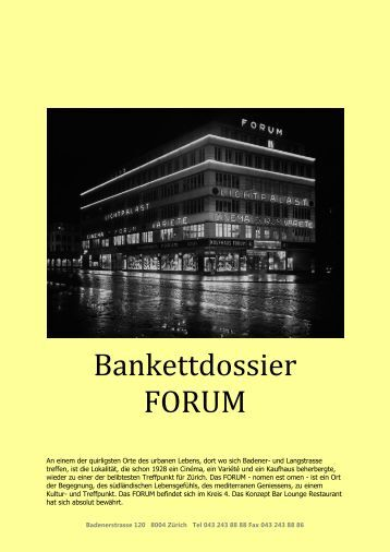 Bankettdossier FORUM - FORUM Bar Lounge Restaurant