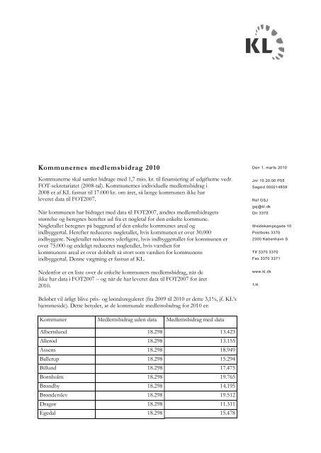 Kommunernes medlemsbidrag 2010 - FOTdanmark