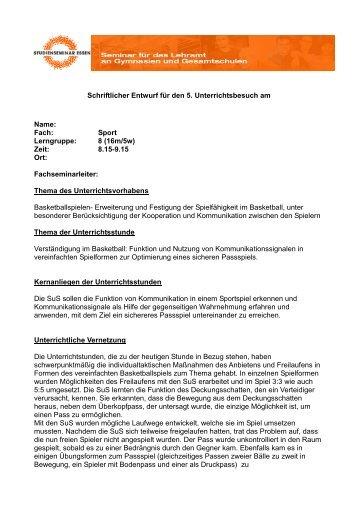 Schriftlicher Entwurf für den 5. Unterrichtsbesuch am ... - FSSport.de