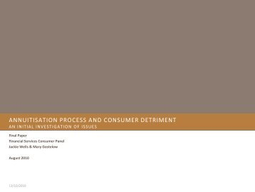 Annuitisation Process and Consumer Detriment - Financial Services ...