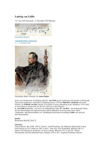 Loefftz Ludwig von - Gästebücher von Schloss Neubeuern